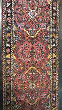 2.7 x 8.2 Red Navy Persian Hamadan Oriental Rug Runner Iran Hand Knotted Wool