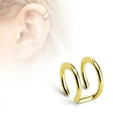 DOUBLE Hoop Gold Rings Fake NON Piercing CARTILAGE EAR CUFF Wrap Clip on Earring