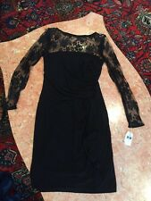 Women's AMERICAN LIVING BLACK LONG SLEEVE LACE EVENING/COCKTAIL DRESS SIZE 8