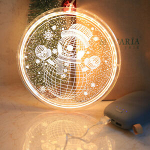 """3D LED Hanging Christmas Light Ornament Warm White Suction Cup Snowman 8"""""""