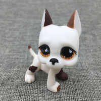 Littlest Pet Shop Teardrop Eyes Great Dane Dog LPS#750 Rare White Brown Puppy