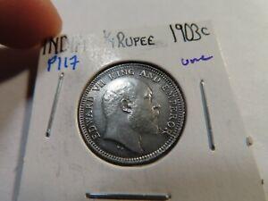 P117 India British 1903-C 1/4 Rupee UNC