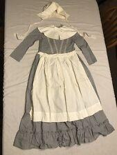 Vintage Handmade Girls Pilgrim Costume Size 10? 9/10? Blue Gray Ruffles