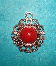 Pendant Red IMITATION Turquoise Charm Flower Charm Filigree Charm DIVA Charm