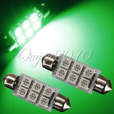 2x Green 6 SMD 5050 Car LED Map Dome Interior Light Bulbs 42MM Festoon DC12V