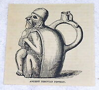 1882 small magazine engraving ~ ANCIENT PERUVIAN POTTERY ~ jug with human figure