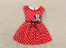 Minnie Mouse Princess Birthday Party Girls Dresses Red Dot Kids Clothing Gifts 2