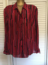 Vintage Red, Mulberry & Black Striped Long Sleeve Shirt Size 18