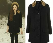 Topshop Vintage Style Black with Leopard Print Collar Car Coat. UK 8.