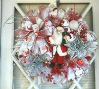"""Santa Claus Christmas Wreath Red White Deco Mesh Holiday Front Door Decor. 24""""."""
