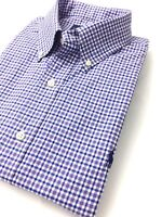 Ralph Lauren Men's Shirt Purple/Blue Tattersall Checks Cotton Twill Standard Fit