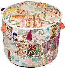 """22"""" Vintage Patchwork White Indian Ottoman Pouf Cover Footstool Seat Covers"""