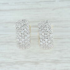 1.25 Diamond Cluster Huggie Hoop Earrings - 14k White & Yellow Gold Pierced