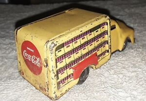 Cragstan Little Giant Yellow Tin Coca Cola Truck Friction Japan 4 Inch Long