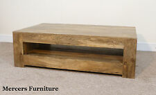 Mantis Light Natural Solid Mango Coffee Table With Shelf by Mercers Furniture