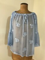 Vintage By Naudic Sabrina Embroidered Sheer Top/Blouse- Blue. Size M