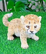 "10.6"" Cheetah Baby Figurine Lifelike Animal Decoration For Homes And Gardens"