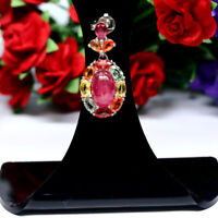 NATURAL 7 X 10 mm. CABOCHON RED RUBY & FANCY CLR SAPPHIRE PENDANT 925 SILVER