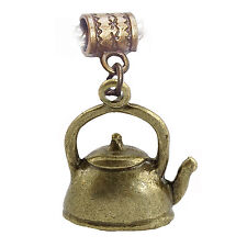 Tea Kettle Teapot Pot Kitchen Bronze Dangle Charm fits European Bead Bracelets