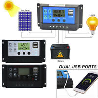 LCD 60A Solar Charger Controller PWM Dual USB Charge Regulator Panel 12/24V USA