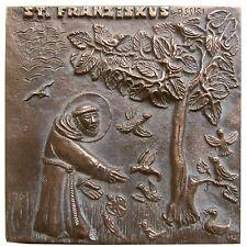 Bronce relief Francisco de Asís 11,5 cm * 11,5 cm