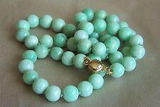 "Stunning 14K Vintage Jadeite Jade Bead Necklace 18 1/4"" 42.2 g"