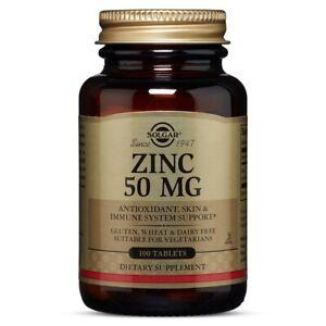 Solgar Zinc 50 mg, 100 Tablets FREE US SHIPPING MADE IN USA FRESH