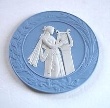 "Wedgwood Blue/White Jasper Plate 2011 Roman Lady w/Harp 7.25"" England $199 New"