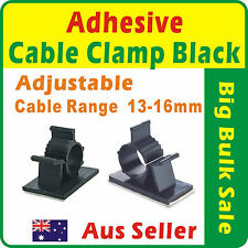 20 x Black Adhesive Backed Nylon Wire Adjustable Cable Clips Clamps 13-16mm