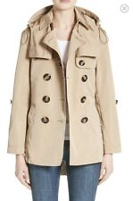 $895 BURBERRY Brit Knightsdale Hooded Trench Coat  Jacket Beige- Honey  US Sz. 6