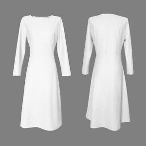Women's Dress Slim Round Neck Long Sleeve Waist Slim A-line Skirt Comfortable