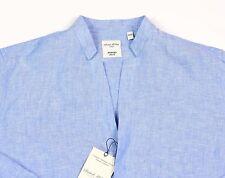 Men's MURANO Blue Open Neck Sexy Linen Shirt XL XLarge Slim Fit NEW NWT HOT!!
