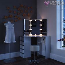 VICCO Eckschminktisch ARIELLE Weiß mit LED - Kosmetiktisch Frisiertisch