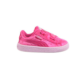 Puma Basket Heart Velour Toddlers' Shoes Beetroot Purple-Puma Silver 367626-01