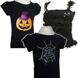 Girl Halloween T Shirt Top Pumpkin Web Ruffle Goth Black Fancy Dress Costume