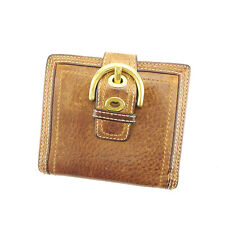 Coach Wallet Purse Folding wallet Brown Gold Woman Authentic Used Y6314