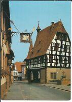 Ansichtskarte Michelstadt/Odenwald - Gasthof Drei Hasen mit Schild und Rathaus