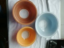 3 Pyrex Nesting Mixing Bowl Clear Bottoms Pastel 2.5, 1.5 & 1L #322 323 325
