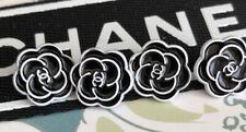 Chanel Vtg Button Camellia Black Flower White 12 mm SET OF 4