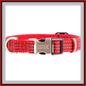 """KONG Red Silver w/ Reflective strips HTF Metal Buckle Dog Collar Large 18-26"""""""
