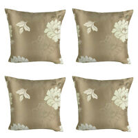 "SET OF 4 - Satin Gold with Cream Floral Cushion Covers Shop - 17 x 17"" / 43 cm"