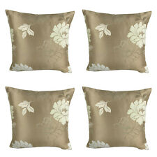 "SET OF 4 - Satin Gold with Cream Floral - 17 x 17"" / 43 cm - FILLED CUSHIONS"