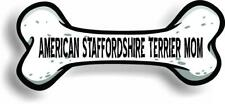 "Dog Mom American Staffordshire Terrier Bone Car Magnet Bumper Sticker 3""x7"""