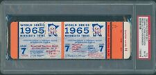 1965 WORLD SERIES GAME 7 FULL PROOF TICKET PSA 8 (NM-MT) VOIDED KOUFAX WINS 2-0