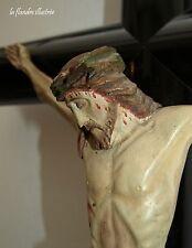 magnifique grand christ en bois polychrome napoléon III - religion