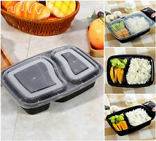 2 compartiment repas prep contenants de nourriture couvercles en plastique boîte déjeuner empilable pack 10