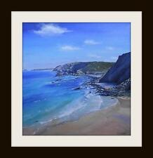 St Agnes Beach Cornwall : Original Oil Painting by Robin Beckett BIG 50cm X 50cm
