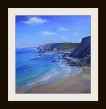 St agnes beach cornwall: original peinture à l'huile par robin beckett big 50cm x 50cm