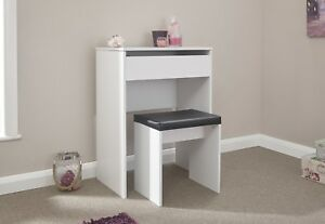 Classic Compact Dressing Vanity Makeup Table Faux Leather Stool Set - White