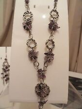 New Costume Jewellery Real Amethyst Necklace Earrings set